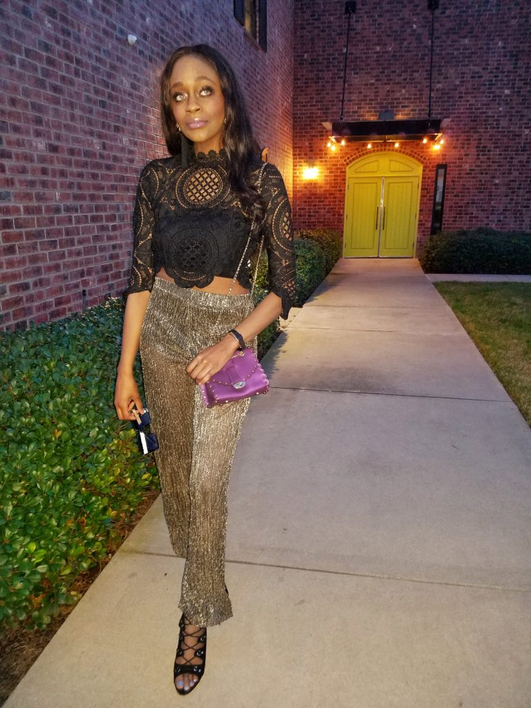 metallic sheer pants - Metallic Trend Inspiration by Dallas style blogger Foreign Fresh & Fierce