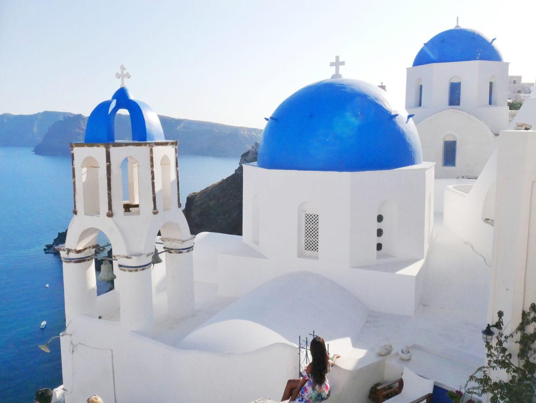 Santorini, Greece blue domes oia