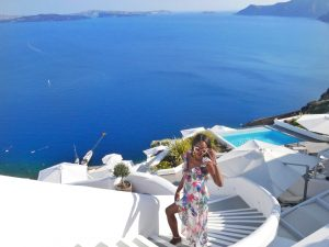 Blue domes oia santorni Greece