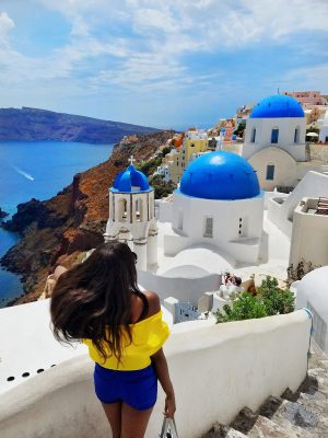 Blue domes best photo locations in oia Santorini Greece