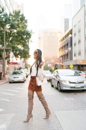 Black women fashion street style fall fashion trend suede style suede boots skirt