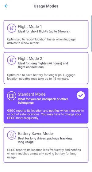 GEGO Tracker Usage Modes